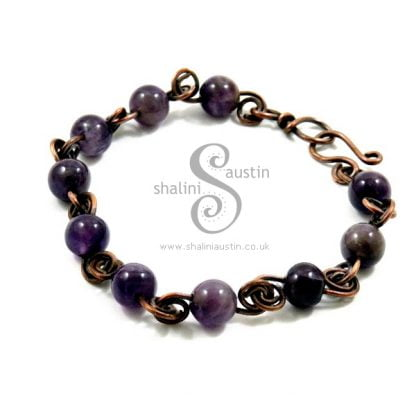 Sold: Amethyst & Copper Bracelet