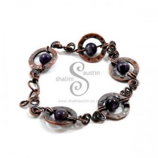 Amethyst & Copper Circles Bracelet