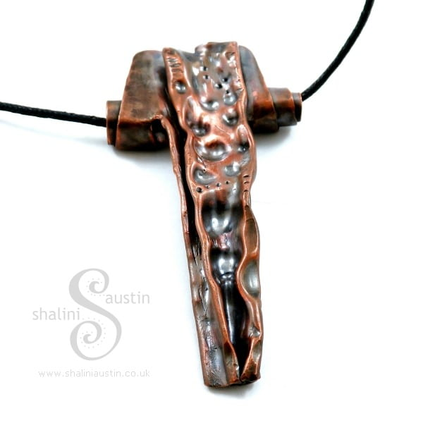 'Aries' Air-Chased Copper Pendant (02)