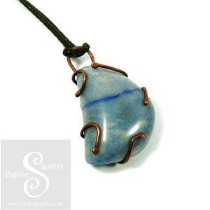 Blue Aventurine Copper Pendant