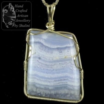 Wire Wrapped Pendant: Blue Lace Agate & Sterling Silver Wire