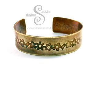 Embossed Brass Cuff FLORAL 2