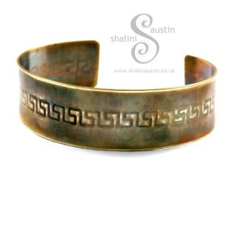 Narrow Embossed Brass Cuff GREEK KEY