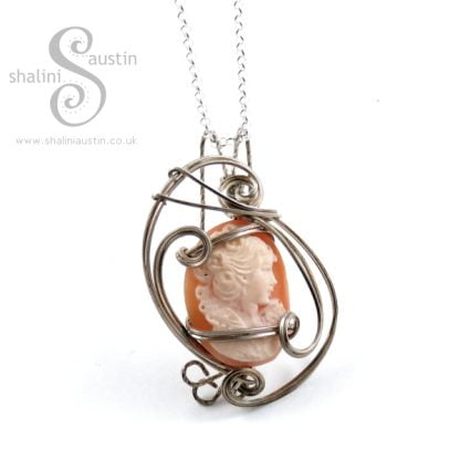 Sterling Silver Wire Wrapped Shell Cameo Pendant