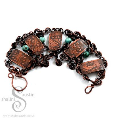 Sold: One-Off Etched Copper & Turquoise Bracelet