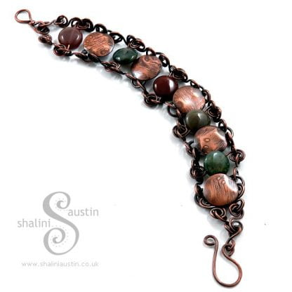 Indian Agate & Etched Copper Bracelet