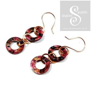 Copper Earrings: Hand Painted