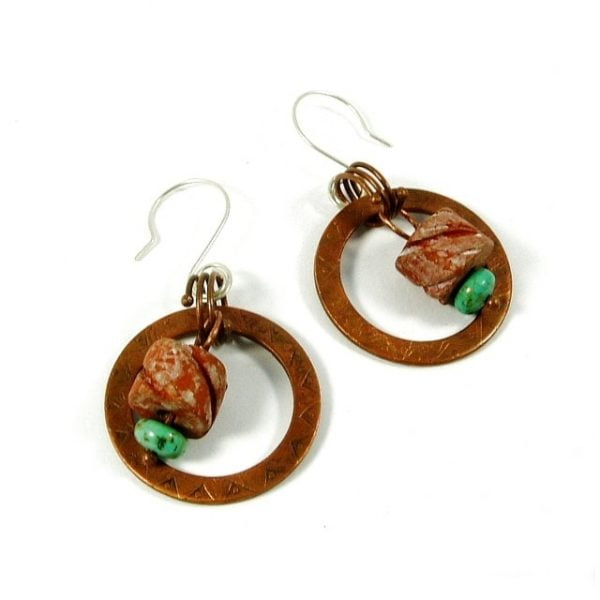 Turquoise, Ceramic and Copper Earrings