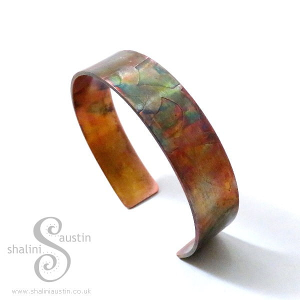 Whimsy Etched Copper Cuff - Flame Painted