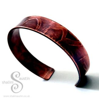 Etched Copper Cuff WHIMSY