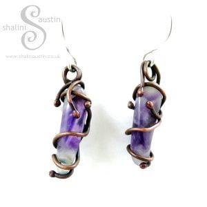 Chevron Amethyst & Copper Earrings