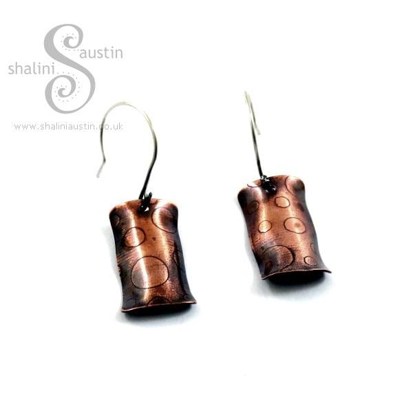 Embossed Copper Earrings 'Bubbles'