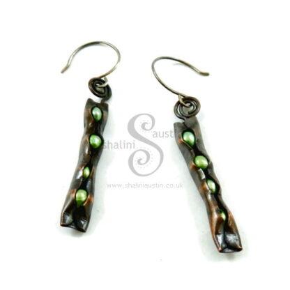 Green Freshwater Pearls & Copper Earrings