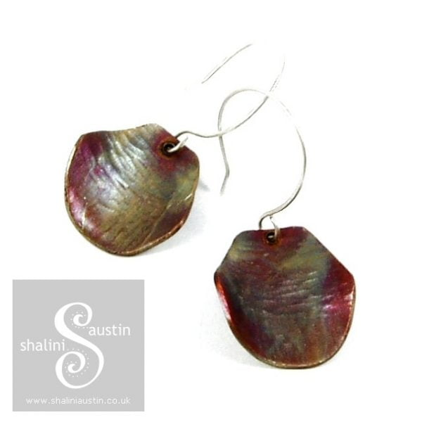 Copper Earrings: Flame Painted