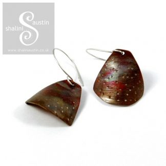 Copper Earrings: Flame Painted (2)