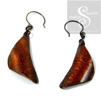 Copper Earrings: Hammer Textured