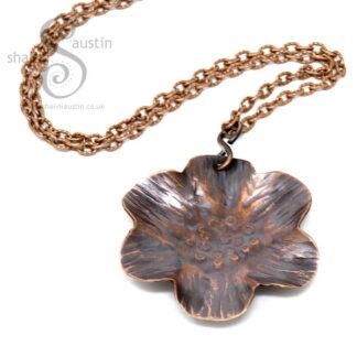 Antique Finish Copper Flower Pendant