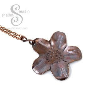 Copper Flower Pendant - Antique Finish