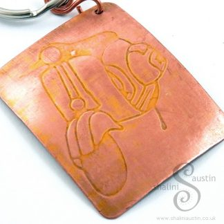 Embossed Copper Keyring YELLOW VESPA