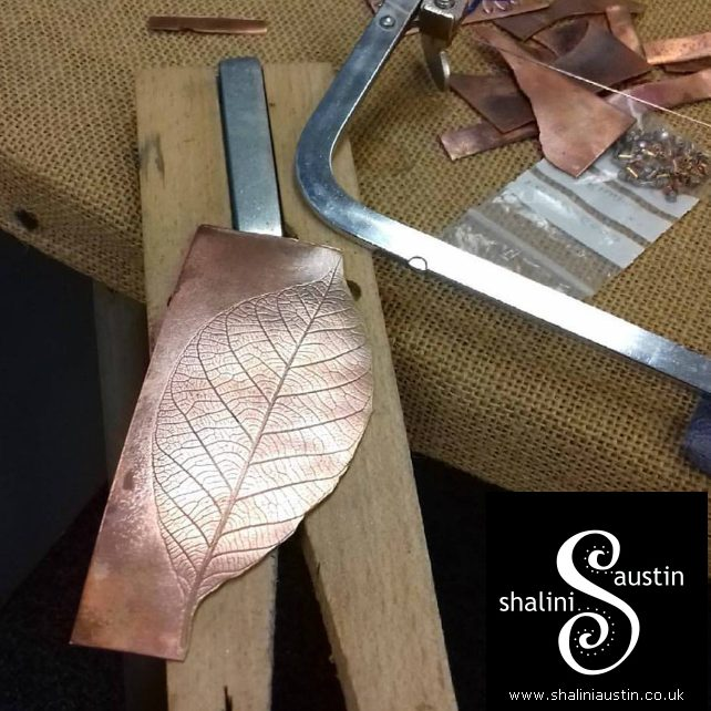 Single Copper Candle Stand with a Leaf  Sculpture