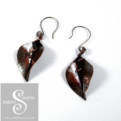Fold Form Copper Leaf Earring