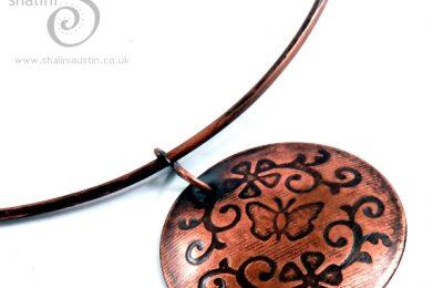 Embossed Copper Pendant FLORA