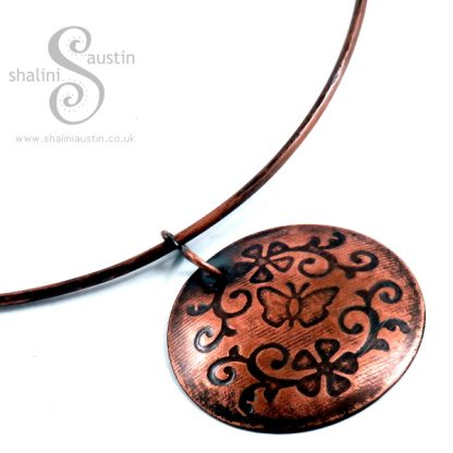Embossed Copper Pendant FLORA