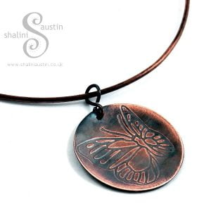 Embossed Copper Pendant FLUTTEREBY