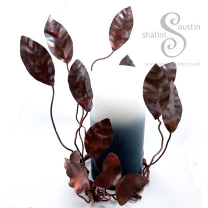 Copper Sculpture - Nature Inspired Candle Surround