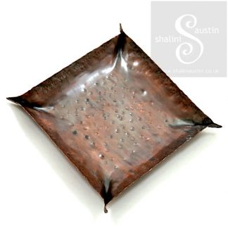 Copper Trinket Tray: Square Fold Formed Dish