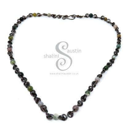 Antique Finish Semi-Precious Gemstone Indian Agate Beads Necklace