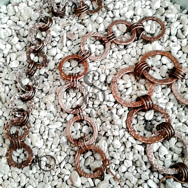 Antique Finish Copper Circles Bracelets