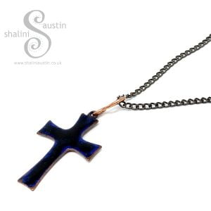 Enamelled Copper Cross Pendant – Blue