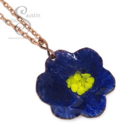 Copper Flower Pendant BLUE & YELLOW