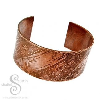 Sold: 'Nalanda' Etched Copper Cuff