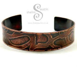 Narrow Etched Copper Cuff WHIMSY – Antique Finish