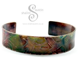 Narrow Etched Copper Cuff WHIMSY - Flame Painted