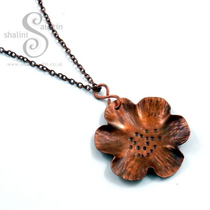 Textured Copper Flower Pendant 01