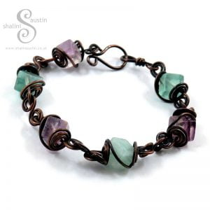 Antique Finish Spiral Links Fluorite Cube Beads Bracelet