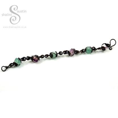 Antique Finish Spiral Links Fluorite Cube Beads Bracelet