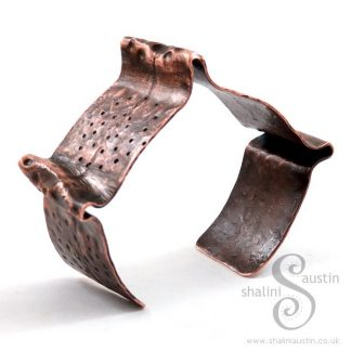 Fold-Formed Copper Cuff 14 - Antique Finish