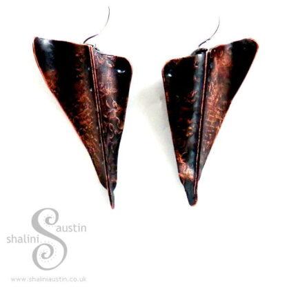 Sold: Fold Formed Copper Earrings