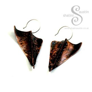 Sold: Fold Formed Copper Earrings