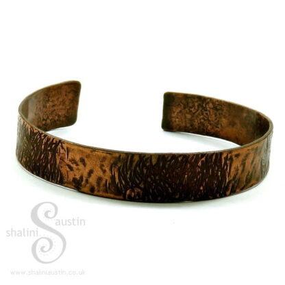 Narrow Hammered Copper Cuff - 17.2 cm