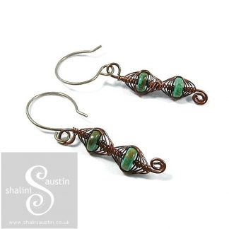 Turquoise Herringbone Weave Earrings