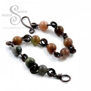 Indian Agate & Copper Wire Bracelet