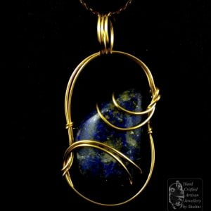 Lapis Lazuli Pendant Wrapped in Gold-Fill Wire