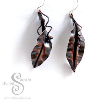 Copper Earrings: Fold Formed Leaf (6.9 cm)