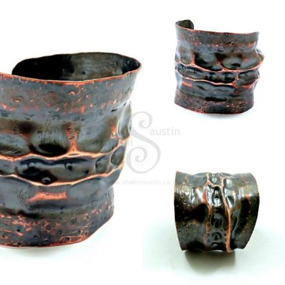 Antique Finish Rustic Copper Cuff LUNAR 5