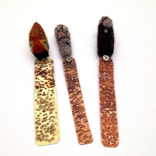 Fun Copper & Felt Paw Mini Bookmarks by Esha, Handmade to Order